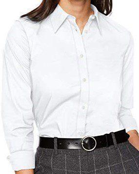 White Long Sleeve Broadcloth Shirt-Chaps