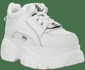 White Lowtop Platform Chunky Sneakers-Buffalo London