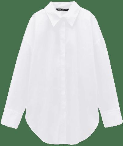 White Poplin Lapel Collar Shirt