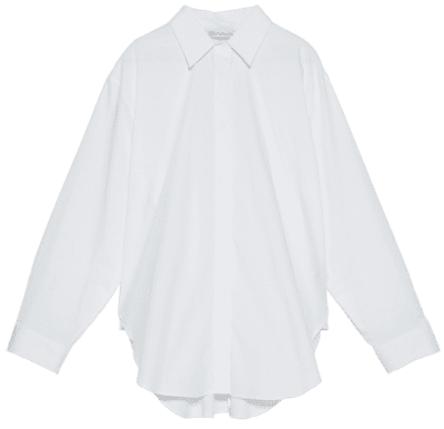 White Poplin Lapel Shirt