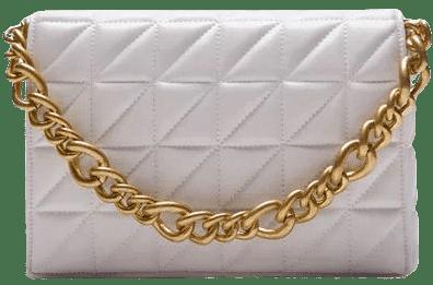 White Quilted Chain Strap Shoulder Bag-Zara