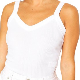 White Rib Racer Front Tank Top-Boohoo