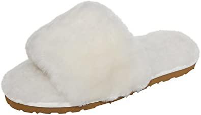 White Sheepskin Slide Slippers-SLPR