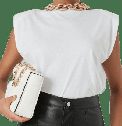 White Shoulder Pad Sleeveless T-Shirt