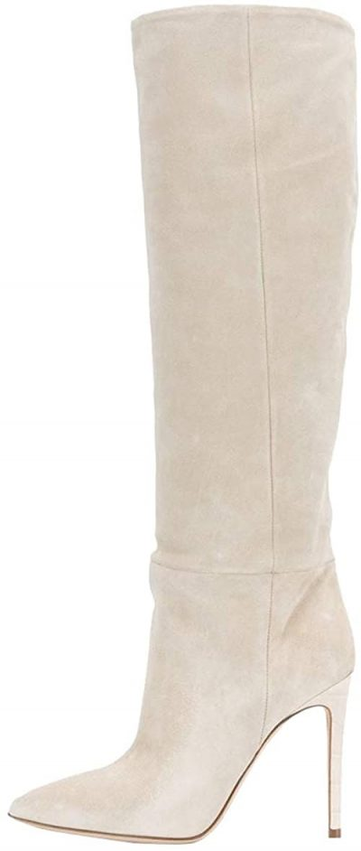 White Suede Pointed Knee High Boots-Coonek