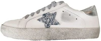 White Vanessa Sequinned Star Distressed Sneakers-Goodnight Macaroon