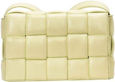 Yellow Christin Intrecciato Faux Leather Cross Body Bag-Goodnight Macaroon