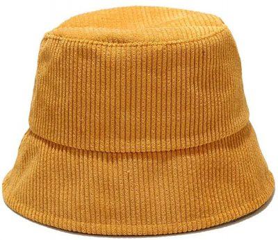 Yellow Windproof Corduroy Bucket Hat