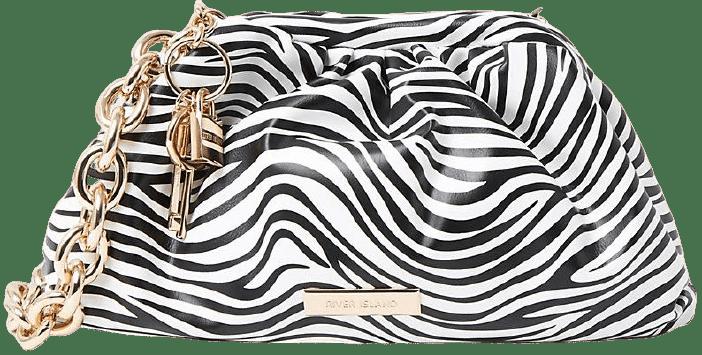 Zebra Print Chunky Chain Ruched Handbag-River Island
