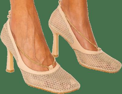 Beige Matte Vegan Leather Chain Mesh Heels