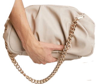 Beige Oversized Ruched Clutch