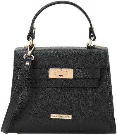 Black Borsa Trapezoidale Piccola Handbag-Tuscany Leather