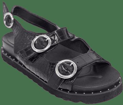 Black Croc Flat Sandals