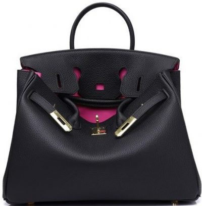 Black Erin Leather Padlock Handbag-HandbagCrave