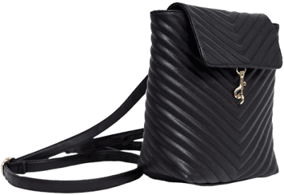 Black Foldover Quilted Backpack-Yoki Fashions