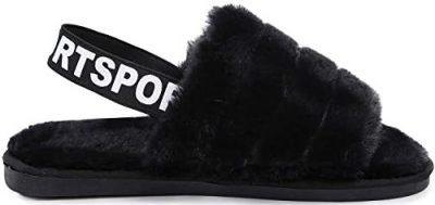 Black Fuzzy Flat Slide Sandals-KADIS