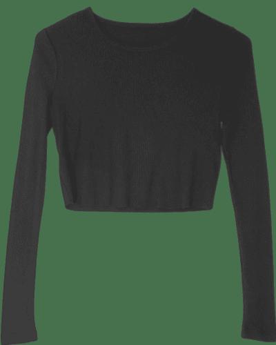 Black Girlfriend Long Sleeve Cropped Top