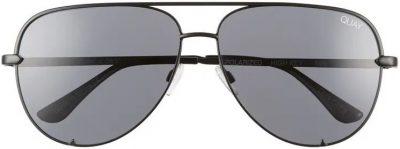 Black High Key 62mm Oversize Aviator Sunglasses-Quay