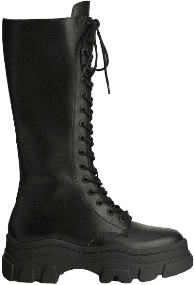 Black Lace-Up Boots With Track Soles-Bershka