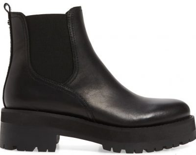 Black Leather Justina Chelsea Boots