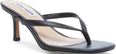 Black Leather Melrose Sandals-Steve Madden
