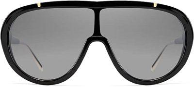 Black Oversized Siamese Lens Sunglasses-FEISEDY