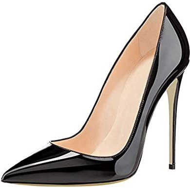 Black Pointed Toe Leather Pumps-COLETER