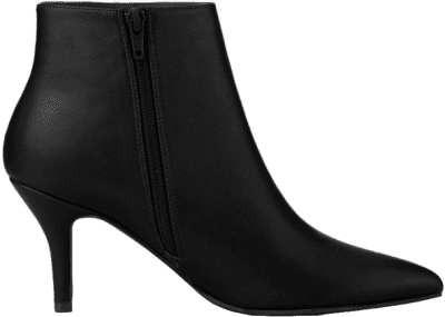 Black Pointed Toe Zipper Stiletto Ankle Boots