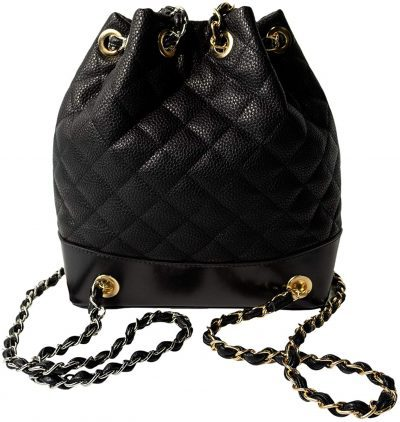 Black Quilted Hobo Backpack