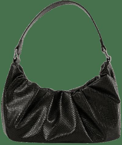 Black Ruffled Shoulder Bag