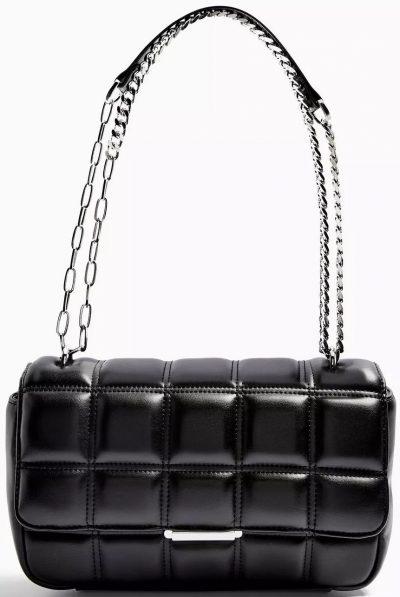 Black Sabrina Quilted Shoulder Bag-Topshop