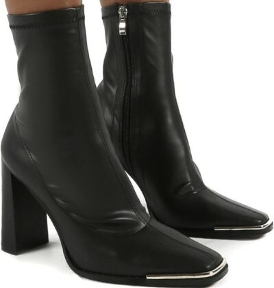 Black Sock High Heeled Ankle Boots-Public Desire