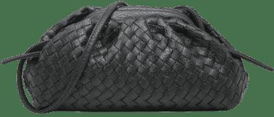 Black Soft Woven Cloud Pouch Bag-Hannah David