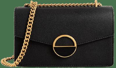 Black Stone Embellished-Buckle Shoulder Bag