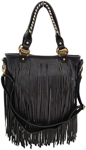 Black Tassel Rock Chic Shoulder Bag-LYDC