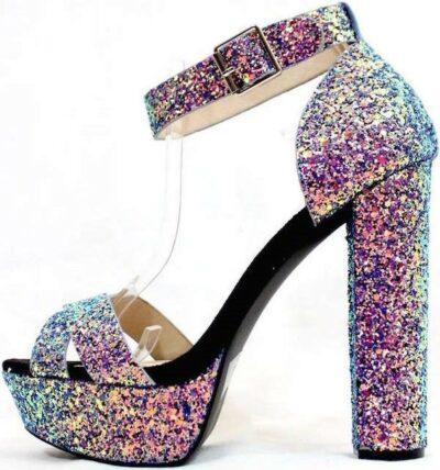 Blue Glitter Qupid Chunky Heel Platform Sandals-WowTrendz