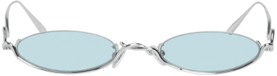 Blue Wire Frame Oval Sunglasses-Charles & Keith
