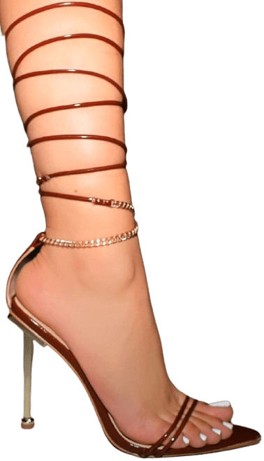 Brown Amrezy Highline Chain Lace Up Stiletto Heels-Simmi