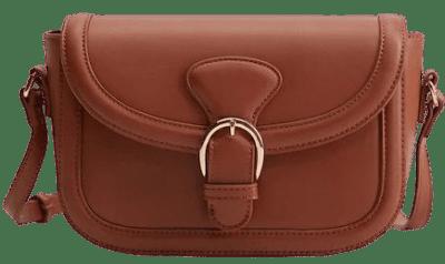 Brown Buckled Flap Bag
