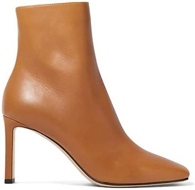 Brown Square Toe Ankle Boots-YIYA