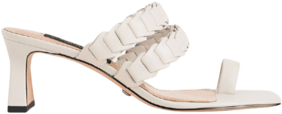 Chalk Leather Pleated Strap Mules-Charles & Keith