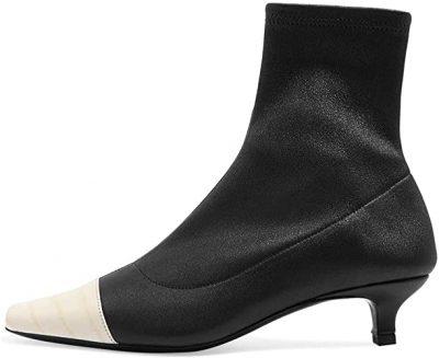 Classic Black White Cap Toe Kitten Heel Booties-FOWT