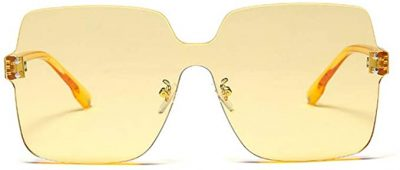 Clear Yellow Rimless Sunglasses