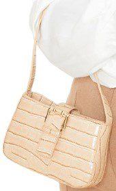 Cream Croc Buckle Front Shoulder Bag-Prettylittlething
