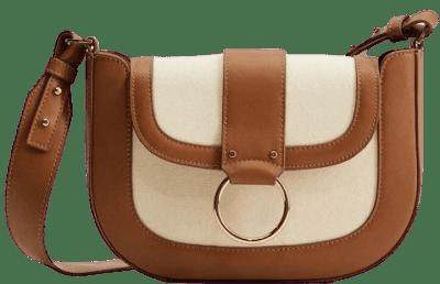 Ecru Canvas Ring Flap Bag