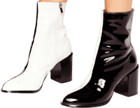 Faux Leather Two Tone Heeled Boots-Nasty Gal