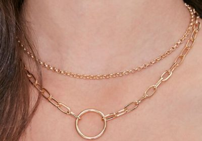 Gold Circle Pendant Layered Necklace-Forever 21