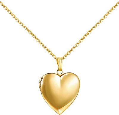 Gold Heart Locket Necklace-YOUFENG