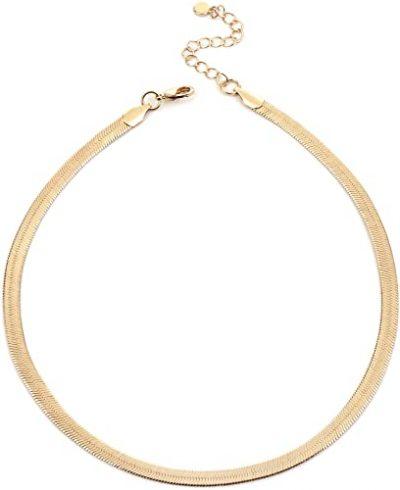 Gold Herringbone Choker Necklace-NUZON
