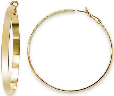 Gold Large Flat Hoop Earrings
